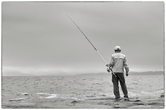 (MT...) Tags: sea blackandwhite bw man monochrome rock japan fishing wave    kanagawaprefecture  bw