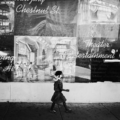 Little Girl, Big Wall (Joel Levin Photography) Tags: street urban blackandwhite bw usa philadelphia square child candid streetphotography squareformat philly allrightsreserved iphone mobilephotography iphone4 bwartaward thedefiningtouch thedefiningtouchgroup iphoneography deftouch editedanduploadedoniphone joellevin definingtouchgroup
