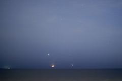 Luna, Júpiter, Venus y Albedarán - Moon, Jupiter, Venus & Aldebaran (Sebapol) Tags: morning sky moon mañana sunrise river dawn star venus nightscape events horizon luna amanecer astrophotography planet planets astronomy jupiter taurus pleiades tresmarias aldebaran skywatch hyades pléyades twilightscape july2012 july152012 20120715