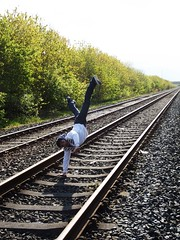 Dancing on the train track (Beer Klongklaew) Tags: blue white black beer by train portraits photography dance eyes track line production inspire postproduction leading rankin preproduction klongklaew