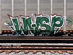 wasp  SYW (INTREPID IMAGES) Tags: street railroad abstract color art train bench graffiti fan paint wasp steel painted graf tracks rail railway trains tags images railcar intrepid writer boxcar graff grab railfan freight rolling gr8 paintedtrains fr8 railbox benching syw paintedsteel railer intrepidimages intrepidimags