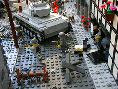 Saint Lo (Cool Whip) Tags: city saint town big cool tank lego jeep destruction wwii scene lo german whip ww2 soldiers spike cod axis forces allies valor amercian moc brickarms panzershreck