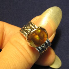 Custom Fire Agate Silver Ring (AshleighAnnette) Tags: green agate bronze fire band vivid bubbles sterling celtic oxidized
