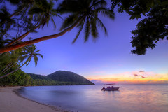 Naigani Sunrise 2 (Andrew Fleming Photography) Tags: ocean seascape beach water silhouette fiji sunrise landscape boats iso100 bay sand andrew f16 shore 7d waterscape fleming 10mm andrewfleming naigani canoneos7d naiganiisland