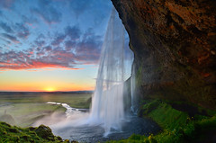 Seljalandsfoss Siren Sunset (David Shield Photography) Tags: travel sunset sky color clouds landscape waterfall iceland islandia seljalandsfoss niikon davidshield