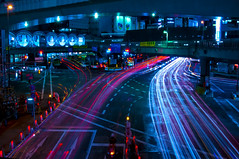 FLOWING LIGHTS (ajpscs) Tags: street longexposure nightphotography japan night japanese lights tokyo nikon nightshot streetlights shibuya streetphotography  nippon  intersection lighttrails  bigcity d300 riveroflights  ajpscs mygearandme mygearandmepremium mygearandmebronze streetnightphotography flowinglights