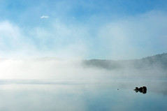 Lake Jindabyne in the Misty Morning | Jindabyne, New South Wales (Ping Timeout) Tags: new morning blue winter sky cloud sun mist mountain lake cold reflection water beautiful wales sunrise landscape town highway pretty view state outdoor snowy south small australia scene east stop valley nsw backdrop aboriginal jindabyne