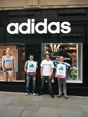 Manchester Activists in front of the Adidas shop (War on Want) Tags: shop manchester protest olympics adidas sweatshops