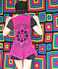 Hot Pink Flower Mandala Vest (babukatorium) Tags: pink blue red orange black flower color green wool fashion yellow dreadlocks circle square star sweater rainbow colorful purple handmade lace mosaic turquoise teal oneofakind curtain crochet moda violet style mandala bow mohair blanket afghan blonde daisy hippie dread vest patchwork psychedelic rasta cardigan bohemian doily manta multicolor shrug octagon waistcoat gilet bedspread whimsical extensions fakehair bolero haken hkeln emeraldgreen croch coperta grannysquares ganchillo colete chaleco fuxia uncinetto dreadextension tii horgolt uvgreen wooldread fakedread babukatorium