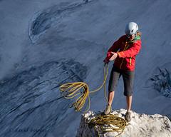 """Rope!"" (nevadoyerupaja) Tags: red usa snow ice girl nikon helmet rope glacier climbing guide wyoming tetons throwing rappeling nikond7000"