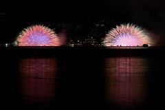 Find a swan, please ! (peaceful-jp-scenery) Tags: fireworks sony   tamron     lakesuwa a001  dslra900   spaf70200mmf28di 10 kojousai