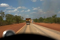 Passing an Oversized Truck Aussie-Style (huskyte77) Tags: road street trip travel november blue red vacation sky orange tree green nature car weather wheel clouds train truck canon landscape fire eos bush highway flickr track day view desert steering action outdoor oz great dump australia 4wd wicked vehicle botanic outback passing gps aussie northern shoulder camper westernaustralia gravel broome roadtrain overtaking 2470mm 2011 canoneos5d canonef2470mmf28l greatnorthernhighway wickedcamper