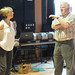 Director Kenny Ireland and choreographer Karen Barry consult during rehearsals of The Cone Gatherers