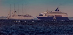 Sailing cruise ship Wind Surf and cruiseferry Pearl Seaways in resund (frankmh) Tags: ferry ship outdoor cruiseship windsurf resund cruiseferry sailingcruiseship pearlseaways