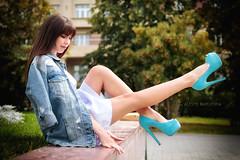 Blue shoes (Alexis2k) Tags:  olga girl  legs denim denimjacket blue shoes pose