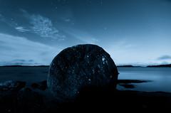 Full Moon IV (Mikael R.) Tags: landscape night outdoor sky star longexposure blue rock round reflection island sea cloud tree nature environment nightscape cliff hav natt bl moln himmel sten vatten water white vit scenery symmetry
