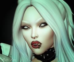 Blanche (Mistic Aura) Tags: avatar sl second life secondlife mesh lelutka head makeup collar smoke brows lips dark gothic vampire doll eyes white black hair