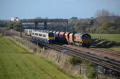 66089 222101 aa Harrowden Jct 290416 D Wetherall (MrDeltic15) Tags: eastmidlandstrains meridian class222 222101 dbcargo class66 66089 6z69 harrowdenjunction midlandmainline