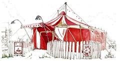 Brioux-sur-Boutonne, Festival au Village, le Cirque l'EnjOliveur, dans le pré des écoles (Croctoo) Tags: croctoo croquis croctoofr aquarelle watercolor cirque festival poitou poitoucharentes brioux
