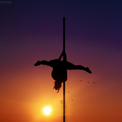 Fly Like a Bird [explored 19.09.2016] (Elisa Pasche) Tags: fly bird women pole dance sky sun sunset contrast silhouette evening colours