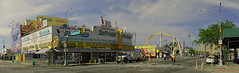 Panoramic View Of Nathan's Famous (nrhodesphotos(the_eye_of_the_moment)) Tags: dsc04329160theeyeofthemoment21gmailcom wwwflickrcomphotostheeyeofthemoment panoramic surfavenue stillwellavenue brooklyn nyc nathansfamous perspective historic restaurant autos metal cars trees streetperspective people sky outdoor architecture signs food glass windows