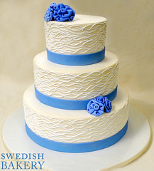Squigglys and Fabric Floral Wedding Cake (Swedish Bakery Chicago) Tags: wedding cake marzipan
