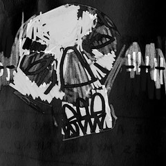 (Krillinator) Tags: skull illustration sketch drawing personal edit app invert distort glitch grunge surreal character lines monochrome blackandwhite text bold outline different freehand marker pen liner