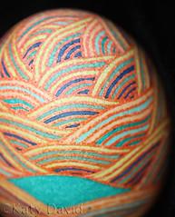 Sundown Seas (Katy David Art) Tags: pysanky pysanka modern seas sundown sunset waves water ocean orange aqua blue green brick rust batik folk art fine eggshell egg chicken beeswax wax dye aniline