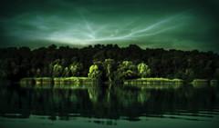 Etude #160712DSC1852. (ptrbsh30) Tags: digitalphoto digitalart landscape nature river storm reflection water trees lightning meditation impression