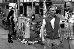 She was getting ready for work (mmatamorosj) Tags: street summer bw white black berlin girl sex bag boots guys prostitute tourists pay buy lover sell hooker mitte 2012 hackeschermarkt
