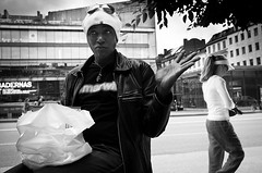 Yo Mama Is So.. (Peter Levi) Tags: street city blackandwhite bw woman blancoynegro sweden stockholm streetphotography documentary gesture x100 fujifilmx100 fujix100