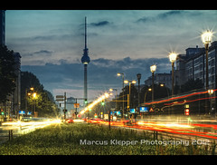 Berlin Traffic Lights (Marcus Klepper - Berliner1017) Tags: street sunset berlin clouds germany lights traffic fernsehturm tor friedrichshain hdr frankfurter allee