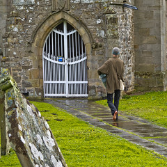 Wensley Church (Roger Hanuk) Tags: uk england man men church walking path barefoot footpath northyorkshire yorkshiredales wensley wensleydale religiousbuildings unitedkingdon