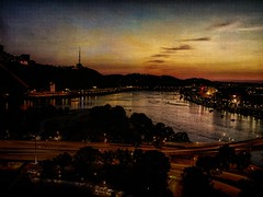 Sundown over Pittsburgh (DaraDPhotography) Tags: city sunset downtown pittsburgh view sundown pennsylvania textures brest textured fantasie trolled awardtree tatot magicunicornverybest frenchkissstudios wwwdaradphotographycom