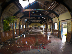 Flooded Dining Room (Alexander Jones - Documentary Photography) Tags: camp urban holiday abandoned boys wales photography major decay south cardiff documentary olympus vale fisheye glamorgan exploration abandonment 020 villiage urbex aberthaw llantwit e500 opteka