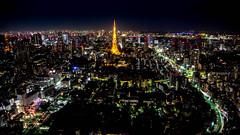 Tokyo Metropolis -  Nightfall (Grif Batenhorst) Tags: city sunset sky tree tower japan buildings tokyo bay construction view skyscrapers dusk district parks hills deck metropolis roppongi mori