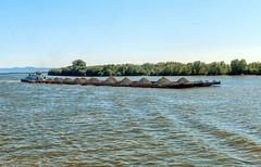 Heavily laden barge (larigan.) Tags: travel trees vacation holiday wake industrial romania balkans shipping barge danube gravel loads larigan phamilton
