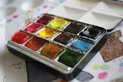 The Paint Set I took to Paris (noriko.stardust) Tags: watercolor paint artist box blogger sketchbook bijou half watercolour pan newton palette winsor wn enamelled