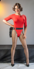Bodysuited With Attitude! (kaceycd) Tags: pumps highheels tgirl fishnets bodysuit miniskirt pantyhose crossdress spandex lycra tg leotard stilettos microskirt fishnethose microminiskirt sexypumps stilettopumps