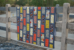 on the fence (blueberrymoon) Tags: quilt stones sewing bricks quilting highsociety brickpattern konacotton bricksandstones konacoal anthologyfabric