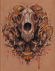 10x10 colored pencil skulls (Jackie rabbit Tattoos) Tags: bear city tattoo skulls skull star virginia cool wolf colorful good awesome great roanoke va coloredpencil jackierabbit