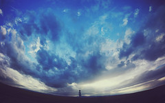 (-Fearless-) Tags: sunset summer portrait sky panorama selfportrait girl silhouette clouds self giant cloudy figure curve curved expansion summersky