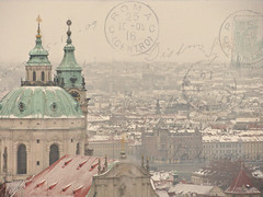 Prague postcard (Serena178) Tags: winter snow buildings europe prague stamps postcard sunday slider