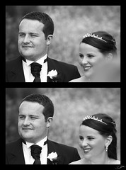Siblings (FlickrJono) Tags: wedding blackandwhite photoshop curves crop clone levels recolor
