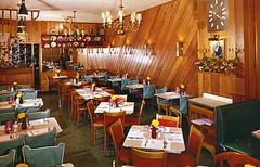 Trott Inn Restaurant Philadelphia PA (Edge and corner wear) Tags: wood vintage restaurant pc interior room postcard diagonal chrome paneling