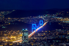 Blue Nights of stanbul - Explore #1 (Yavuz Alper) Tags: longexposure bridge blue night dark 1 evening nikon traffic tripod istanbul aerial 2nd explore fsm sultan bluehour popular frontpage mehmet sapphire kpr fatih skycraper tema bosporus perspektif akam lameridian gkdelen ekmeky kavack istanblue 70300vr vakftepe otatepe 4levent d7000 anasayfa ikincikpr