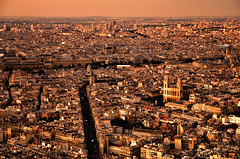Saint-Sulpice: From High Above (Rebecca Ang) Tags: city urban orange paris france church architecture golden cityscape cathedral aerial orangesky aerialphoto goldenhour aerialshot saintsulpice urbanarchitecture rebeccaang