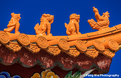Mythical creatures on Chinese temple roof (Feng Wei Photography) Tags: china travel roof sculpture color art tourism beautiful beauty statue horizontal architecture asian religious temple colorful asia buddhist religion chinese buddhism historic historical oriental yunnan dali mythology eaves mythical