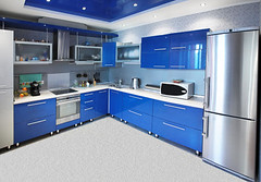 Modern kitchen interior in blue tones (Roman Popov) Tags: life blue urban white house flower building home kitchen animals horizontal architecture modern loft tile photography design office chair apartment counter floor sink cabinet interior room nobody surface structure ceiling clean indoors domestic decorating commercial level faucet vehicle mansion refrigerator activity decor residential showcase filing luxury spars