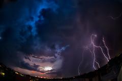 strikes on sunset (dtsortanidis) Tags: city blue sunset sky night clouds canon lights dusk mark fisheye greece ii strike 5d thunder dimitris patra dimitrios lightings 815mm tsortanidis dtsortanidis